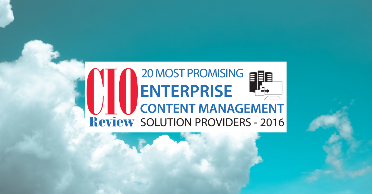 Chosen for CIOReview's 20 Most Promising Enterprise Contract Management Solution Providers 2016