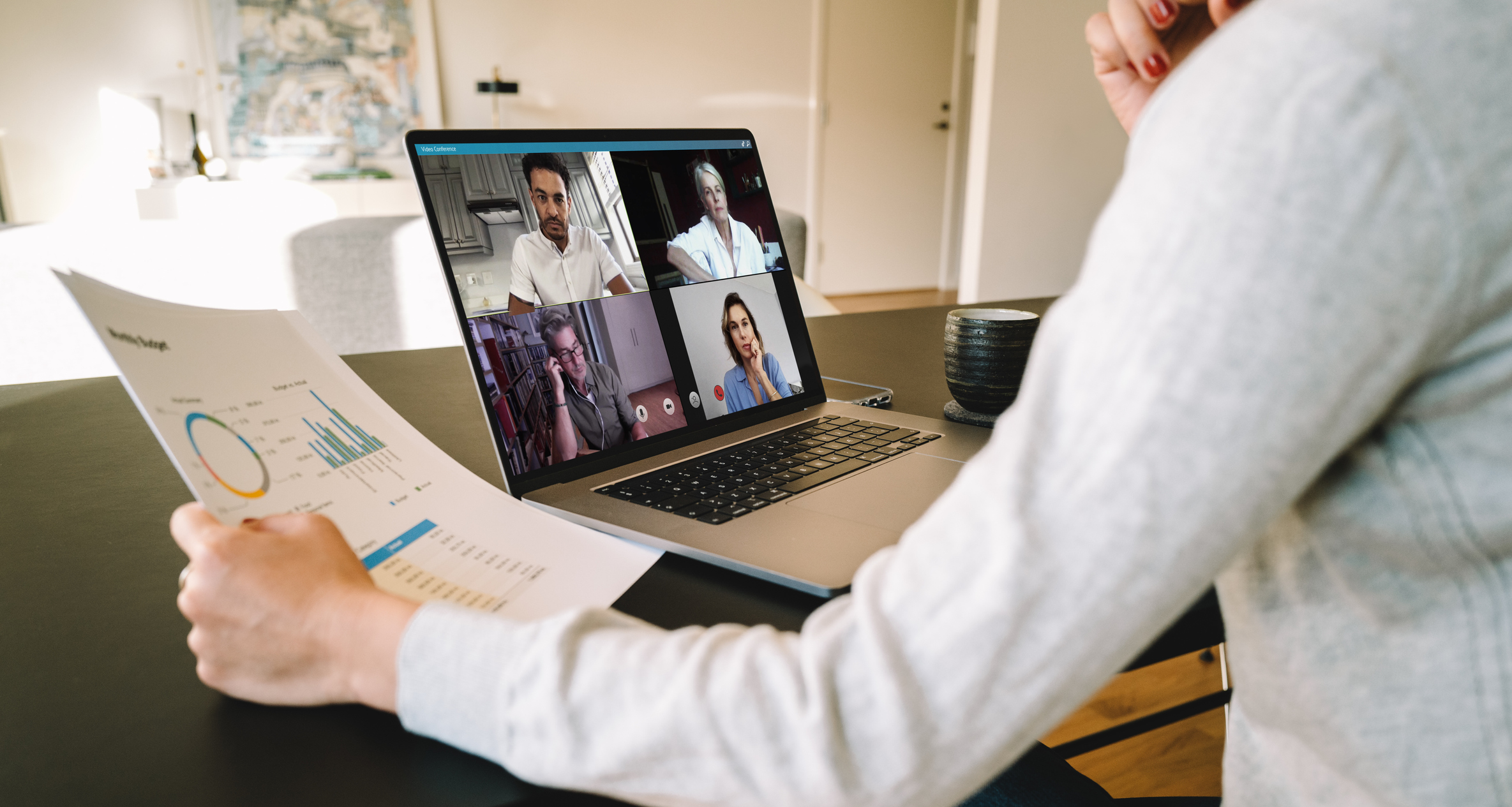 virtual business meeting hosted by video conference