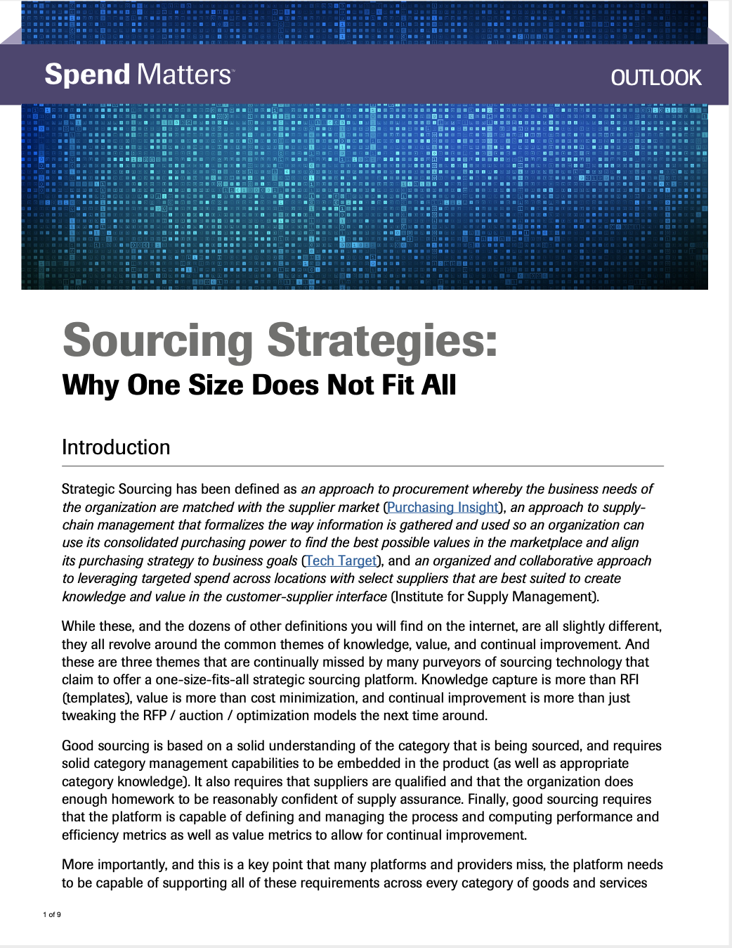 Spend Matters Sourcing Strategies White Paper
