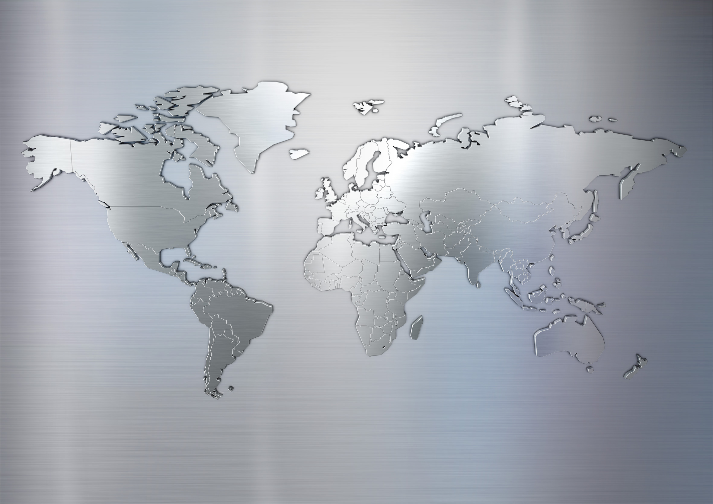 World map made of metal texture
