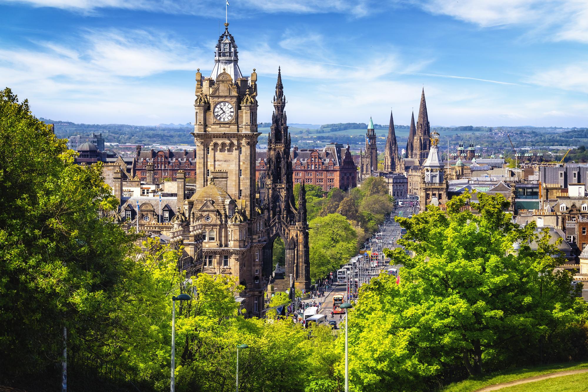 View of churches in Edinburgh, Scotland