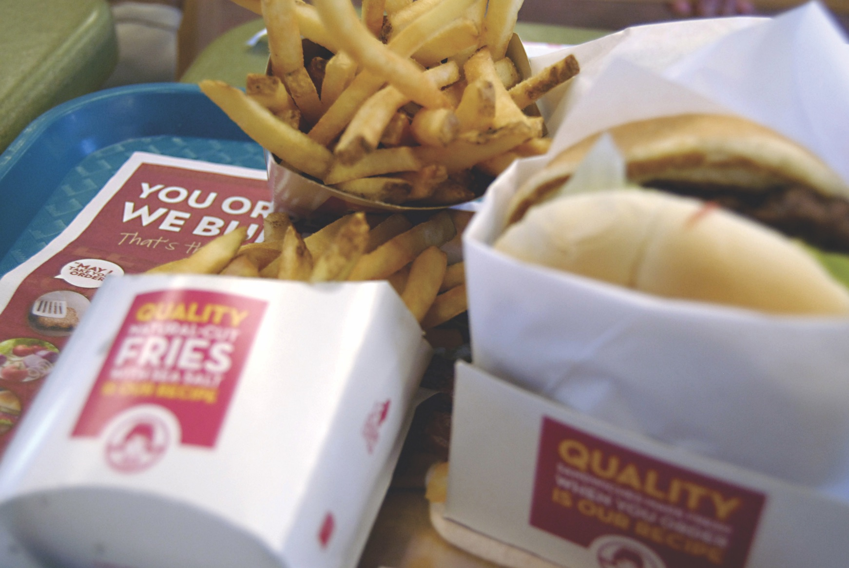 Tray of Wendy's fast food fries and burger