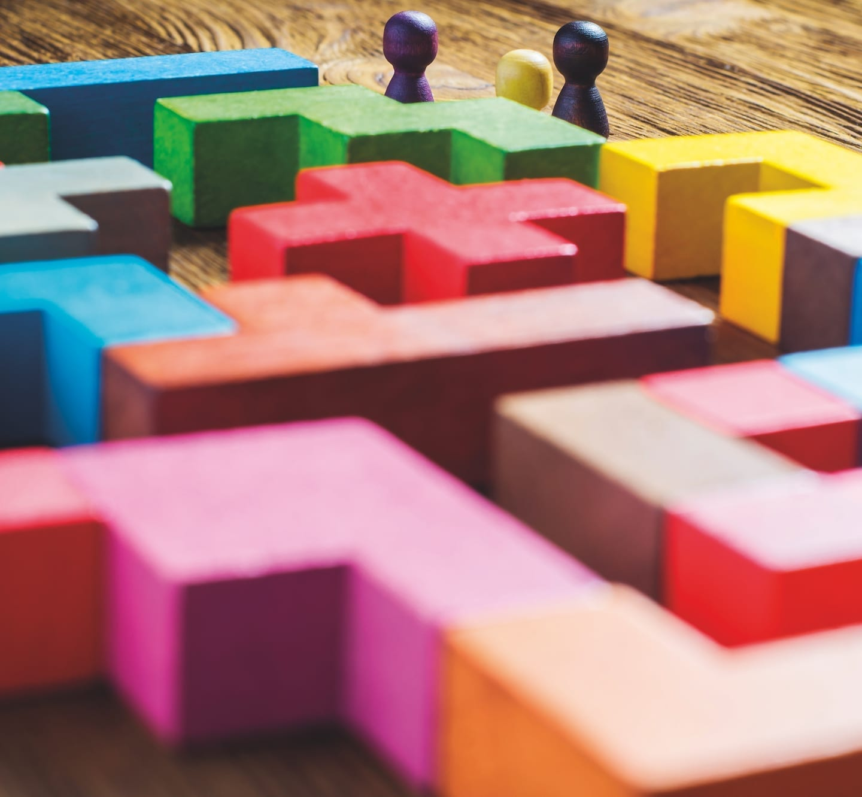 rainbow blocks forming a maze