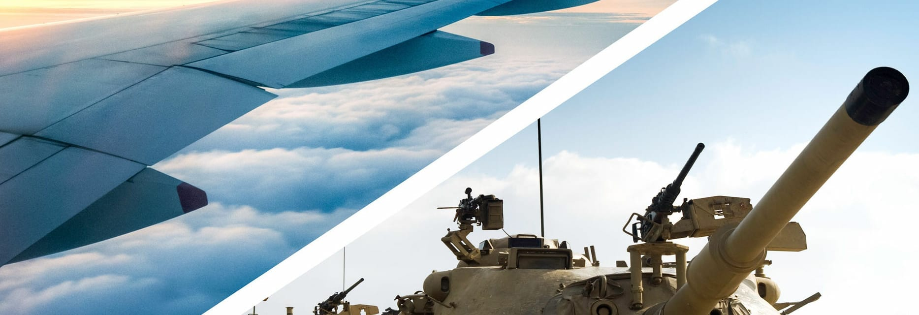 split image of airplane wing in clouds and tank barrel