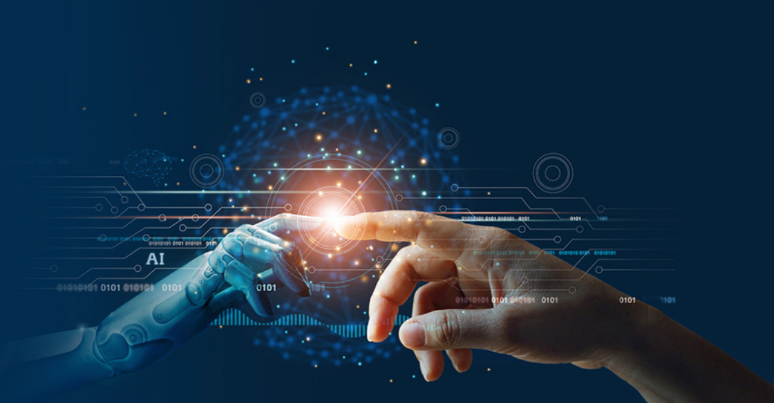 Robot and human hand touching fingertips
