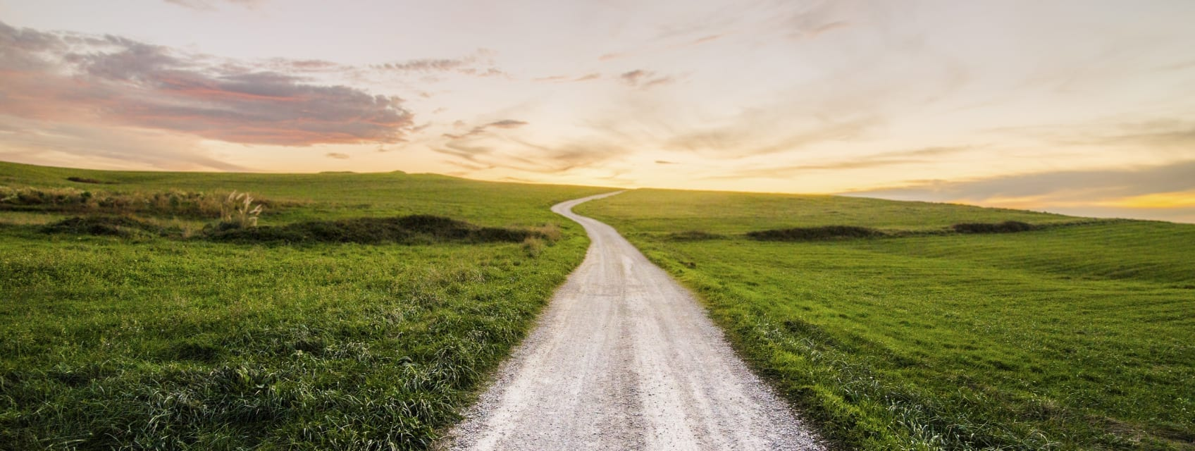 a dirt road through a grassy field to sunrise