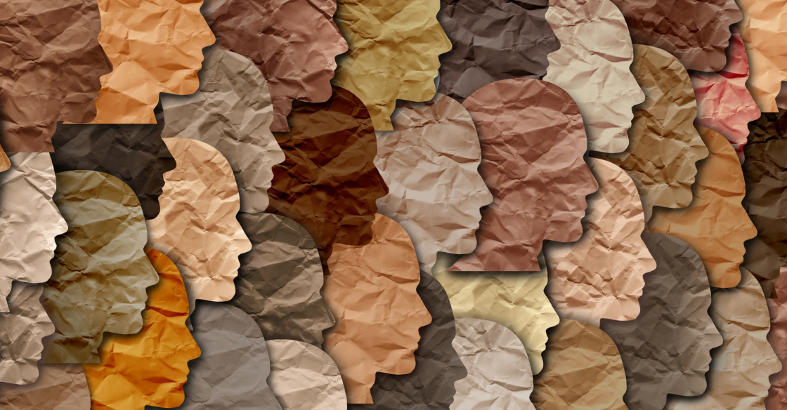 Paper faces showing different skin tones