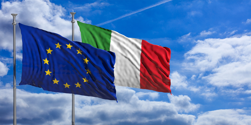 Italy and EU flags
