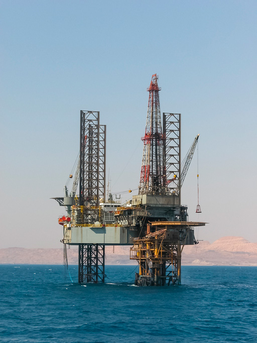 Kuwait National Petroleum Company - Oil rig in the ocean