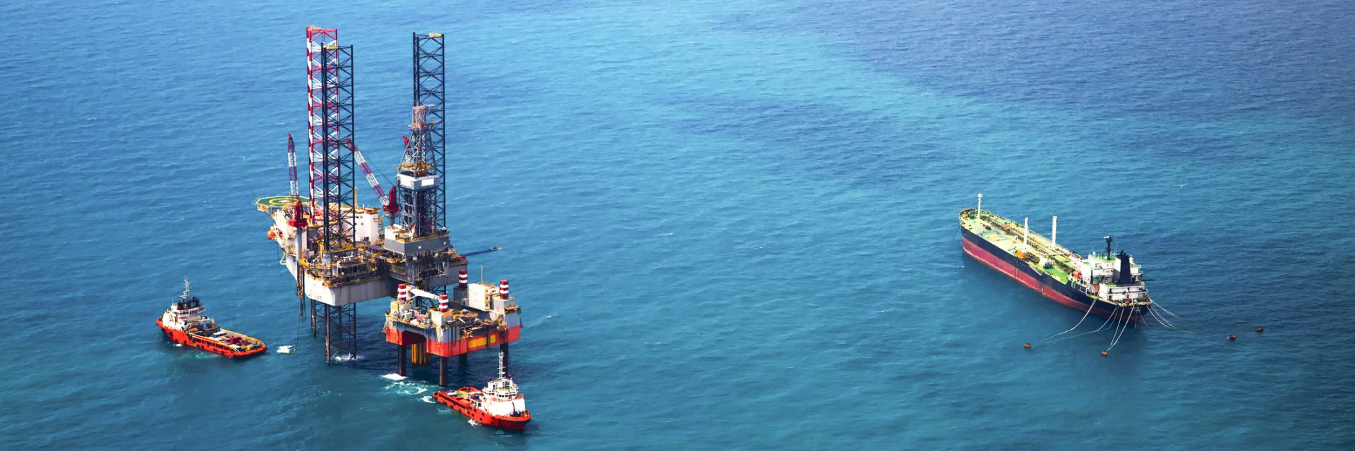 Kuwait National Petroleum Company - Oil rig in the gulf aerial view